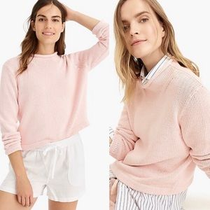 J. Crew 1988 Rollneck Cotton Crop Sweater Blush
